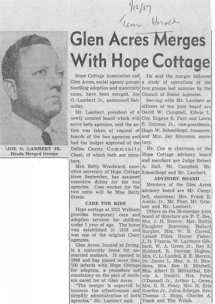Glen Acres Merges With Hope Cottage, 1-13-57