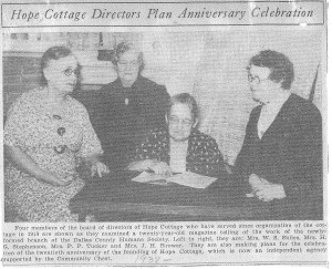 Hope Cottage Directors Plan Anniversary Celebration, 1938 for blog
